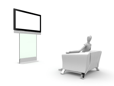 Droid watching TV
