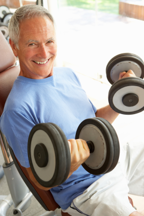 Older guy with weights